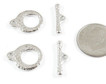 TierraCast Pewter-Rhodium Silver MAKERS TOGGLE CLASP (Set of 2)