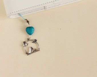 Planner charm, planner accessories, bird Filofax charm with blue heart and beads