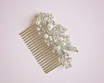 Bridal hair comb, Bridal Headpiece, Vintage hair comb, Bridal headpiece, Rhinestone hair comb, Silver hair comb, Silver Hair vine