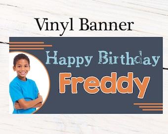 Happy Birthday Boys Banner ~ Personalized Party Banners - Photo Custom Vinyl Banner, Photo Banner, Printed Custom Banner, 13th Birthday