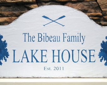 LAKE HOUSE rustic cabin sign Personalized at the lake sign, cabin decor, realtor housewarming gift, Mother's day