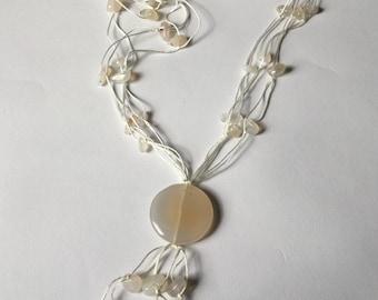 White vintage moonstone necklace