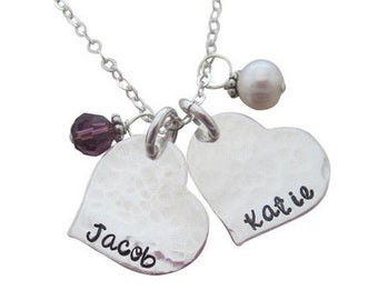 Sweetheart name necklace with two charms