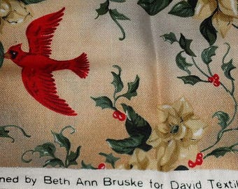 Christmas Cardinals Quilters Cotton Remnant/Designed by Beth Ann Bruske for David Textiles Inc./Seasonal Novelty Printed Fabric