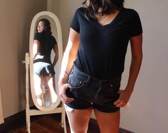 Black Levi Cutoff Denim Shorts