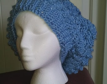 Chunky Two Tone Slouch in Blue. Crochet handmade Women's accessories