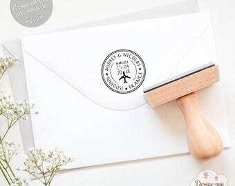 """Tampon mariage personnalisé """"Voyage"""" - pour une décoration originale de vos faire-parts / enveloppes de mariage"""
