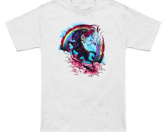 Chainsaw Unicorn Massacre mens ringspun cotton graphic t-shirt