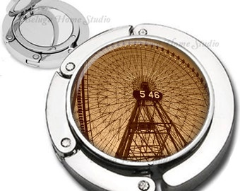 Ferris Wheel Old Photo Sepia Tinted Purse Hook Bag Hanger Lipstick Compact Mirror