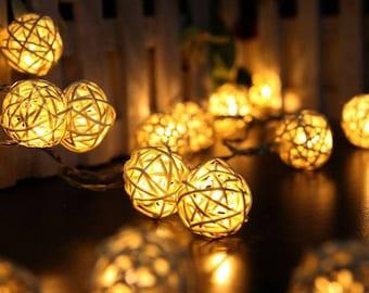 Rattan Fairy Lights, Battery Operated, 6 meters, 40 bulbs, Warm White bulbs, Cold White bulbs, Wedding Lights, Fairy Lights, Home Decors