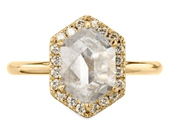 1.93 Carat Icy White Hexagon Halo Diamond Engagement Ring, 14k Yellow Gold