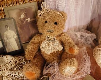 Claudette, Artist teddy bear Animal-stuffed-bear-interior toy - personalized teddy bear Mohair teddy bear