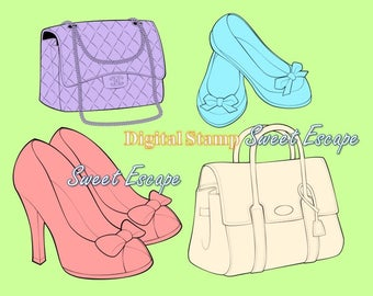Fashion items! Digis: 2 purses, 2 pair of shoes digital stamps