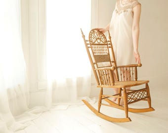 Vintage Wicker Rocking Chair, Antique Victorian Rocker Rattan Furniture,  Natural Brown Spindle Swirl, Small Petite, Nouveau Boho