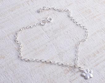 Sterling silver chain paw bracelet sterling silver 925 dog lover bracelet