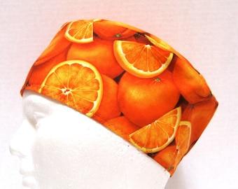 Mens Scrub Hat, Surgical Cap or Chefs Cap with Oranges