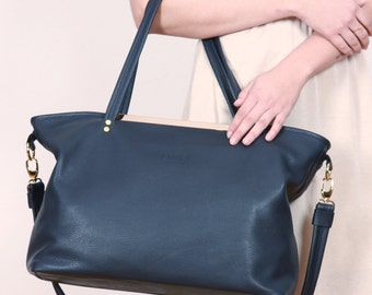 Big Leather Bag,Leather Purse,Blue Shopper,Blue Tote Bag DIANA BAG