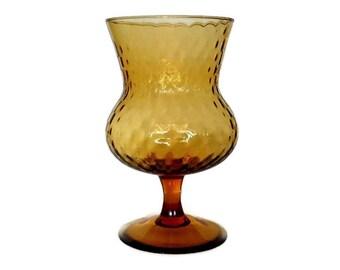 Empoli Glass Vase, Mid Century Amber Pedestal Candy Dish, Optic Glass, Italian Art Glass