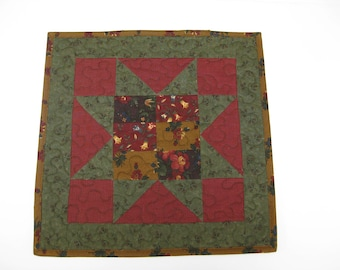 "Table Runner,  Quilted Table Topper, 13 1/2"" X 13 1/2"""