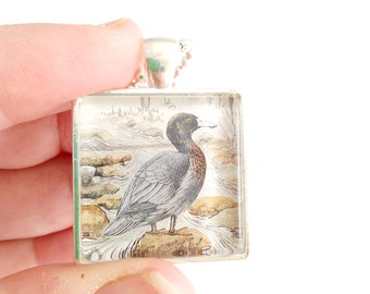 duck necklace, New Zealand postage stamp necklace, blue duck stamp 1987, duck pendant