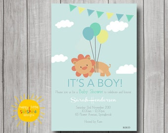 Neutral Baby Shower Invitation Personalised Jungle