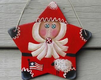 RED STAR SANTA Ornament