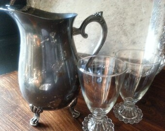 Silver Plate Water Pitcher, With with Ice Stopper, Ornate Feet and Handle, By International Silver Company