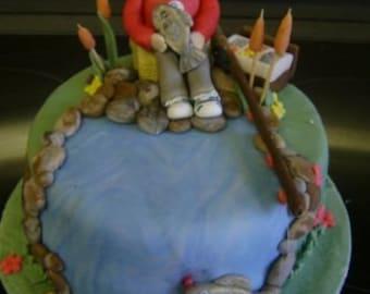 Edible sugar paste fisherman, cake topper,decoration,man,women