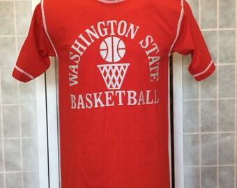 Vintage 1970s/ 80s// Washington State Basketball WSU T Shirt// Bright Red w White Stiches// By Champion// M