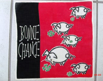 Vintage French Handkerchief Hanky Bonne Chance Shamrock Good Luck