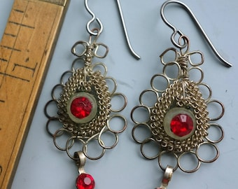 Vintage Wire Red Paste Glass Earrings
