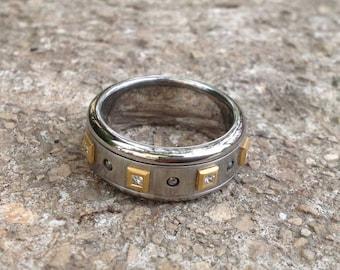 Men's diamond ring, Cool kinetic ring diamond band stainless steel ring,18k gold ring spinner ring diamonds 0.5 ct 65.5 11 1/4