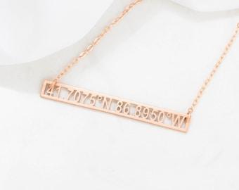 Custom Coordinates Necklace • Cut-out Coordinates Bar • Longitude Latitude Necklace • Personalized Gift • Bridesmaids Gift • NM24