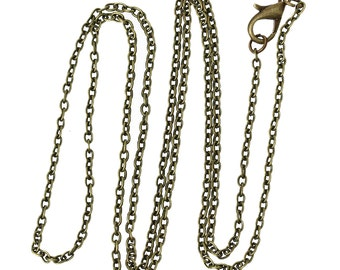 """12 pcs. Antique Bronze Cable Chain Link Necklaces 24 3/8"""" - (3 x 2mm Links) - Lobster Clasps - Claw Clasps"""