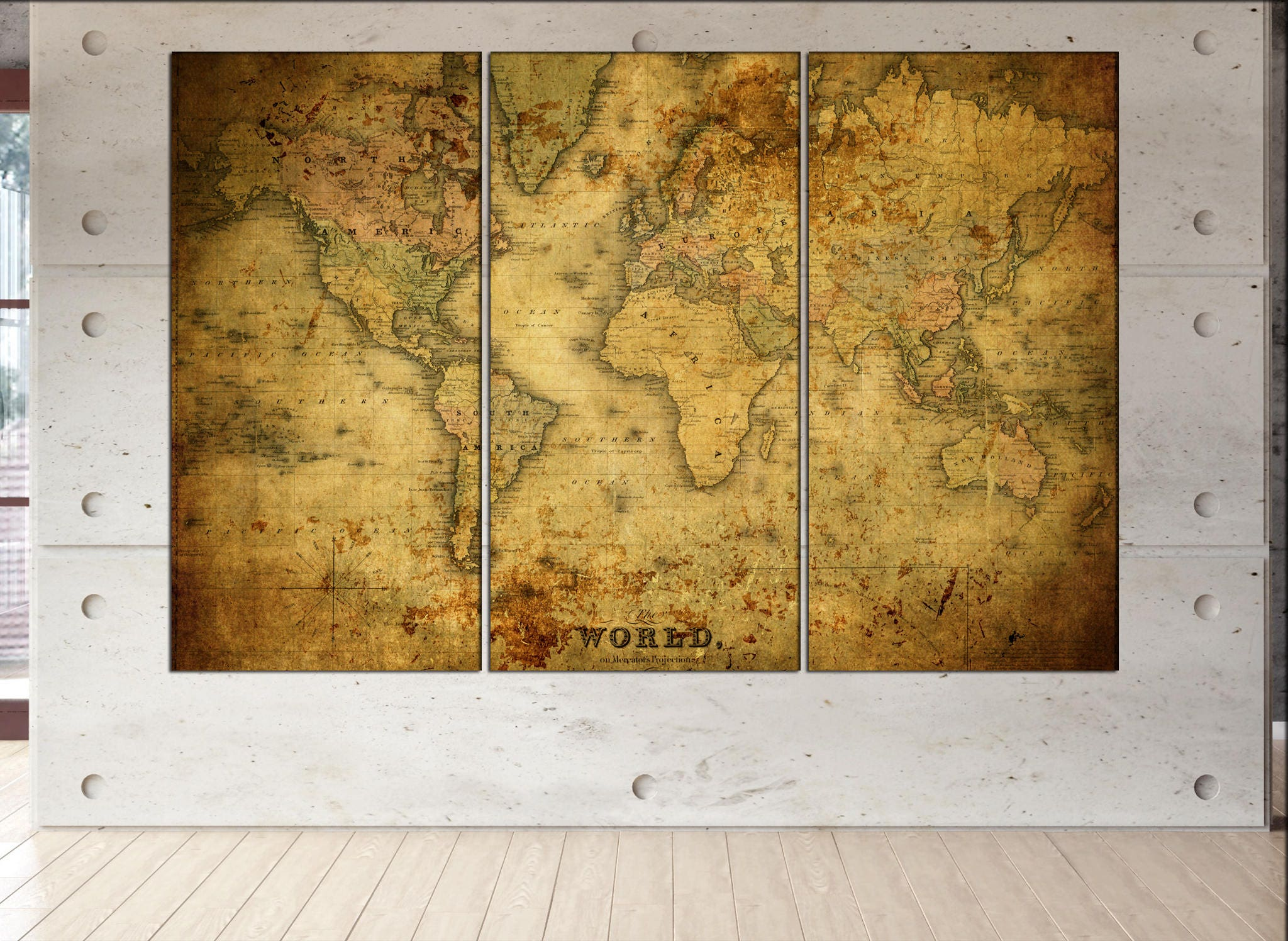old world map canvas wall art print on canvas wall art Old World ...