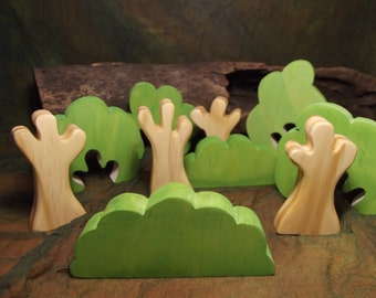 FOLKWOOD ORIGINAL DESIGN Waldorf Wooden Toy - Folkwood Forest 10pc wooden Tree Set, nature table, forest play