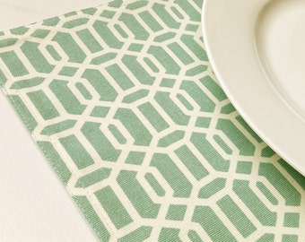 Fabric Placemats - Teal Geometric Placemats - Set of 4