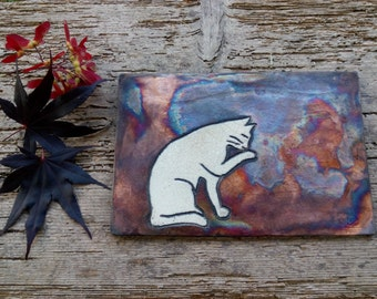 Panel Raku-Coppermat subject Cat
