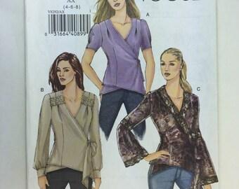 Vogue V8292 Misses' Wrap Blouse Pattern sizes 4,6,8 uncut