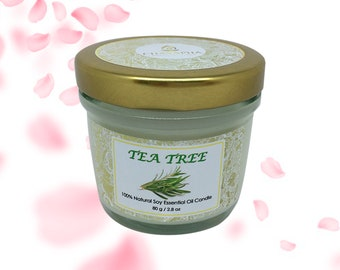 Scented Natural Soy Candle Tea Tree in Small Jar 80 g (2.8 oz) - 24 Hour Burn Time