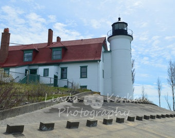 Side View of Point Betsie Lighthouse on Lake Michigan in Frankfort Michigan