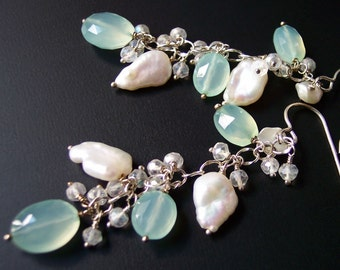 Mint Green Chalcedony Leaf Earrings Sterling Silver, Spring Flowers Mother's Day Gift for Her, Keshi Pearl Dangle Earrings, Bridesmaids Gift