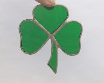 Shamrock kelly green glass ornament Irish celtic symbol