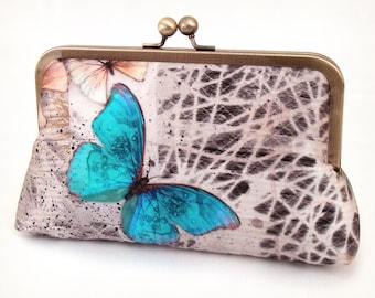 Blue butterfly clutch purse, silk wedding bag, butterflies bridesmaid gift, MORPHOS BUTTERFLY