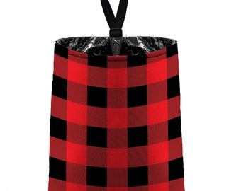 Car Trash Bag // Auto Trash Bag // Car Accessories // Car Litter Bag // Car Garbage Bag - Buffalo Plaid Red Black