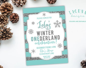 Winter Onederland Birthday Invitation, Winter Onederland Party, Winter Onederland, Winter Onederland Invites, Glitter Birthday Invitation
