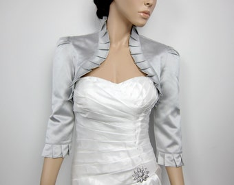 Silver 3/4 sleeve satin bolero wedding bolero jacket shrug