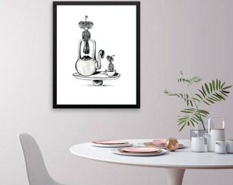 Framed Art Poster Birds and Teapot Black and White Drawing Modern Art Framed Original Art Drawing Wall Art Home Decor Home & Living Fine Art