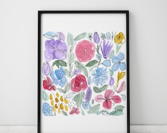 Abstract Watercolor and Ink INSTANT DOWNLOAD Art, Watercolor Printables, Watercolor Art, Colorful Print, Floral Artwork, Gallery Printable