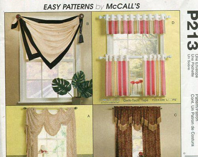 Free Us Ship McCall's 213 Trading Spaces Window Treatments Eay Valance Toppers Kitchen Drapes Sewing Pattern Uncut Out of Print